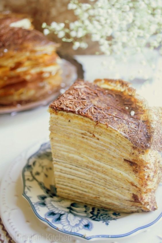 30 layer crepe cake with tiramisu filling. Oh my word! Keeping this recipe for a special occasion..