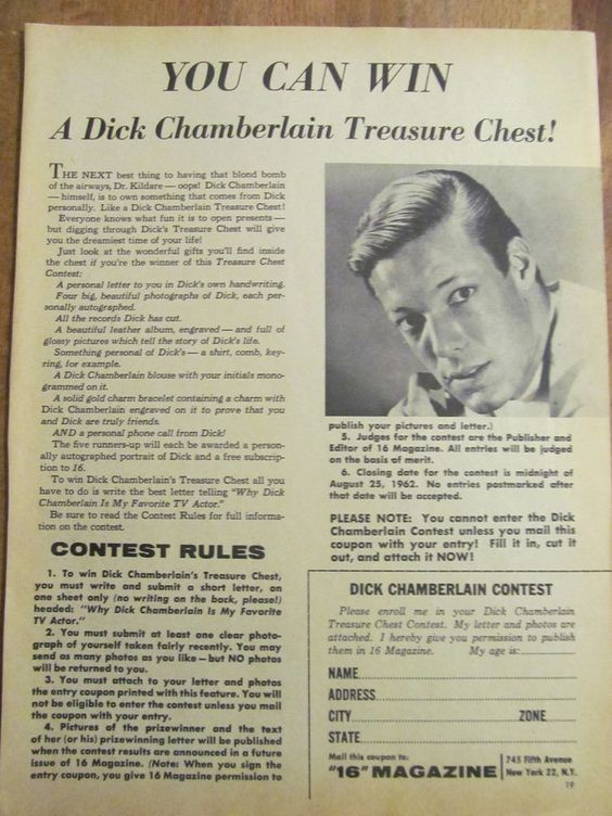 Richard Dick Chamberlain, Full Page Vintage Clipping 1960u0027s and - prize winner letter template