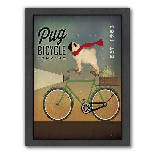 Pug On A Bike Framed Vintage Advertisement Bike Art Print Pugs Bike Poster