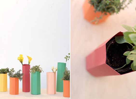 Polygon paper vases #diy