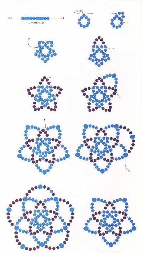 Como hacer una flor con mostacillas para collar