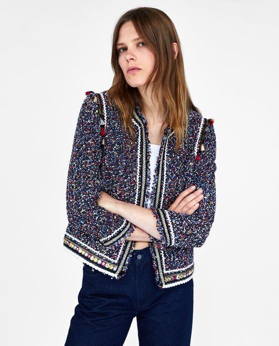 Https Www Zara Com Fr Fr Veste En Tweed Avec Rubans P02409604 Html V1 5892522 V2 815545 Fashion Embroidery Fashion Tweed Jacket