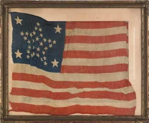 1204 Thirty Four Star American Flag Ca 1860 15 X American Flag Civil War Flags American Folk Art