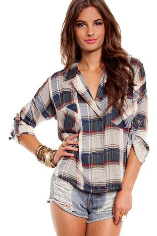 Fancy Lumberjack Blouse in Blue and Red $21 at www.tobi.com