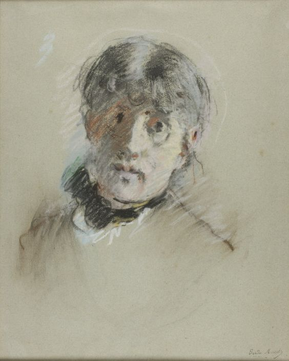 Berthe Morisot (1841-1895) - Self-Portrait - Pastel, with stumping, on gray laid paper with blue fibers - http://www.artic.edu/aic/collections/artwork/113714?search_no=57&index=17