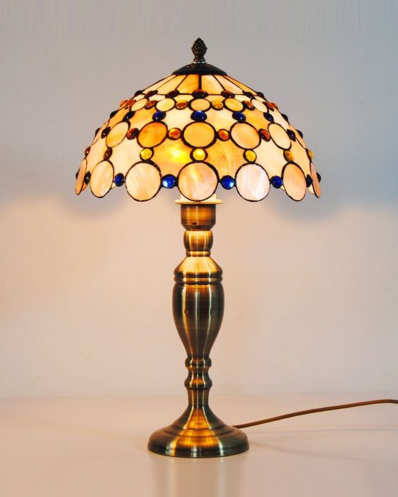 Authentic Tiffany Lamps | Authentic Sea Shell Tiffany Style Table Lamp