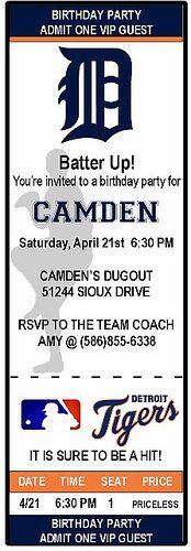 Detroit Tigers Ticket Stub Birthday Invitation