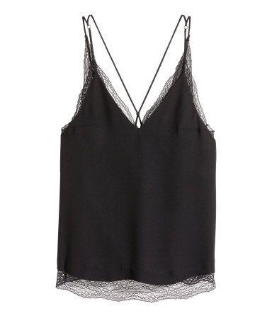 Double-layer Lace Camisole Top | Black | Ladies | H&M US