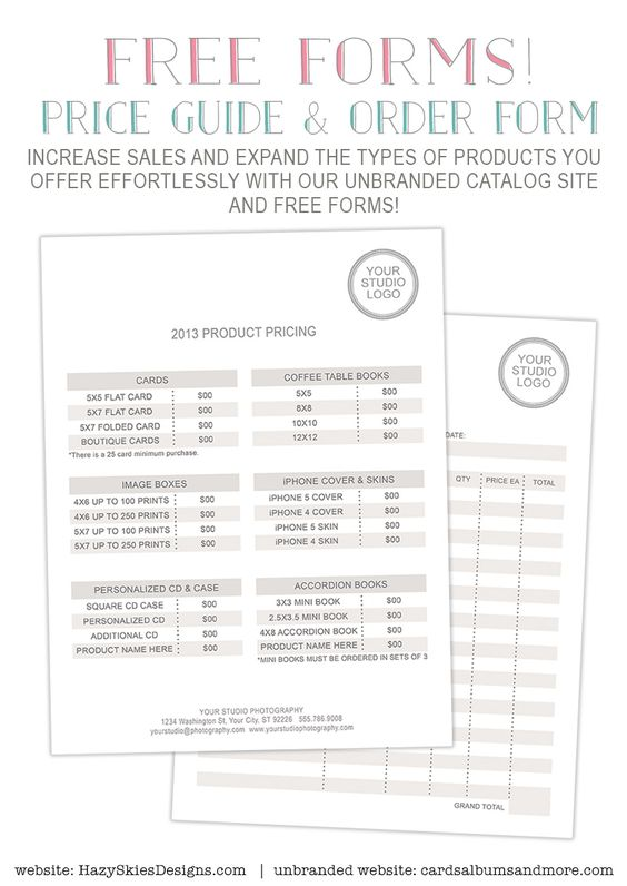 FREE Photography Forms Pricing Guide and Order Form – New Business Client Information Template