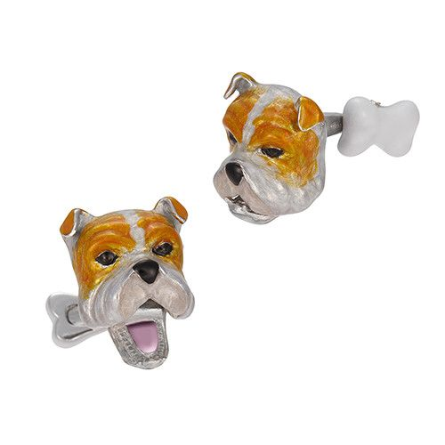 Moving Bulldog Cufflinks with Bone by Jan Leslie