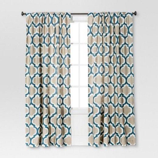 Threshold Curtain Panels Set 2 Blue Ikat Fretwork 54 X 84 Fabric