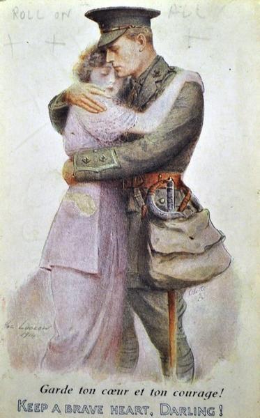 """""""¡Sé valiente, mi amor!"""" El mensaje era válido para destinatarias inglesas y francesas  Postales para mi amada Ally, aportadas por Joseph Coughlin. Europeana 1914-1918"""