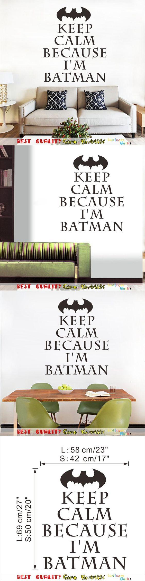 Keep Calm I Am Batman Wall Stickers Kids Bedroom Decoration, Vinyl Home Decal Movie Poster Mual Art Sticker Adesivo De Paredes