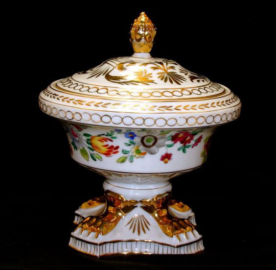 Exquisite old neo classical porcelain compote paw feet-Vintage flowers gold gilt…