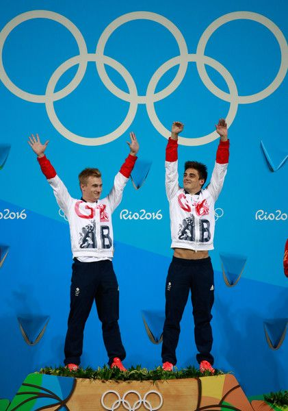 Gold medalists Jack Laugher and Chris Mears of Great Britain pose on the podium during the medal ceremony for the Men's Diving Synchronised 3m Springboard Final on Day 5 of the Rio 2016 Olympic Games at Maria Lenk Aquatics Centre on August 10, 2016 in Rio de Janeiro, Brazil.