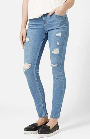 light denim ripped jeans - Jean Yu Beauty