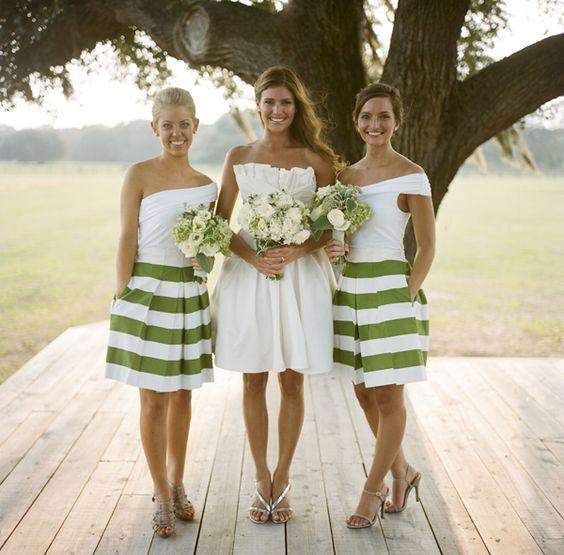 kelly green striped bridesmaids dresses via Southern Weddings