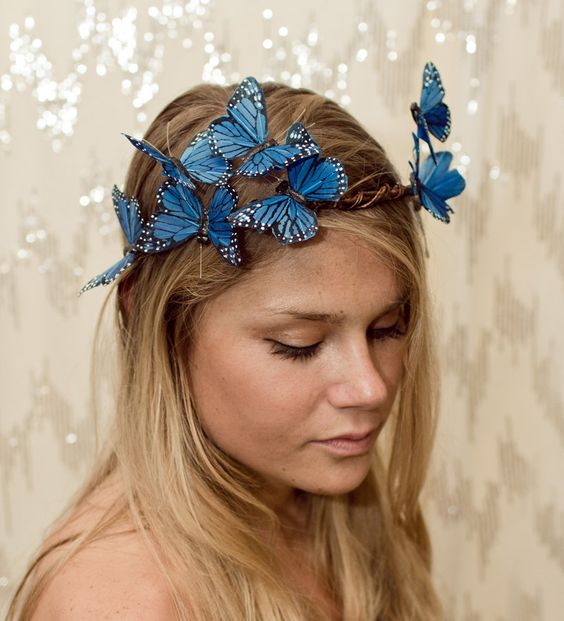 Blue Woodland Butterfly Crown - fairy