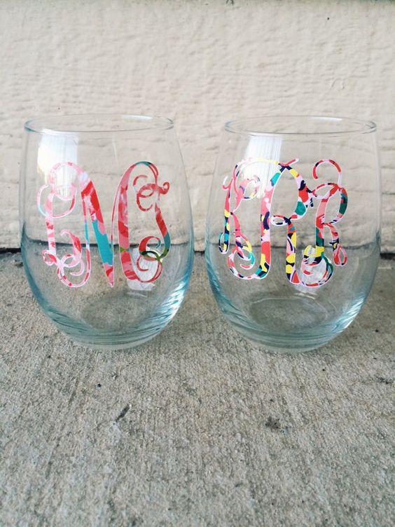 Lilly Pulitzer Monogrammed Wine Glass  by PrettyLettersShop