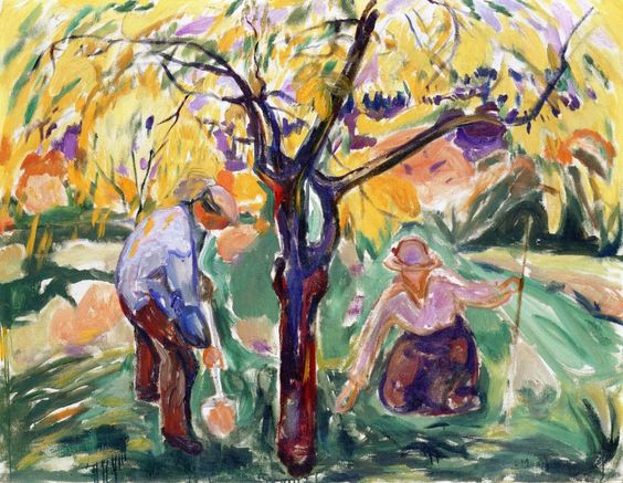 The Apple Tree,   Edvard Munch 1921 Kunsthaus - Zurich (Switzerland)	Painting - oil on canvas Height: 100 cm (39.37 in.), Width: 130.5 cm (51.38 in.)