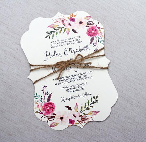 Boho Wedding Invitation Floral Wedding by LoveofCreating on Etsy
