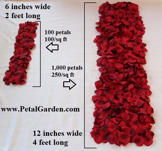 This website is so helpful! It calculates how many pieces of flower petals you will need for your wedding!: