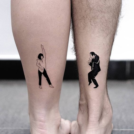 Mia and Vincent dance tattoo  - 27 matching tattoos for couples that last longer than a ring - OurMindfulLife.com