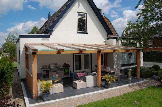 Jumbo terrasoverkapping hout overkapping tuin en terras overdekt terras veranda - Terras hout ...