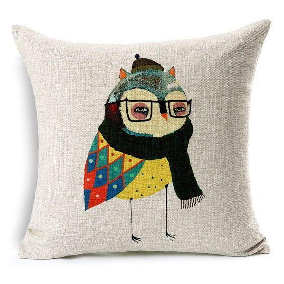 Owl bed linen pillow cover decorative throw pillows car ...