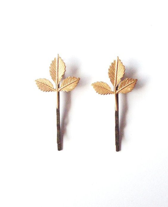 Gold Leaf Bobby Pins Leaf Hair Pins Bridal Hair by dreamsbythesea