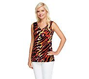 Susan Graver Printed Liquid Knit V-Neck Sleeveless Tank - A255957