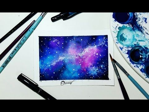 Tutorial Galaxia Aquarela Galaxy Watercolor Aquarela Galaxia