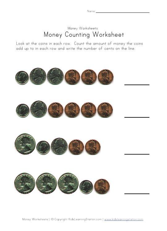 coin counting worksheet quarters dimes nickels and pennies kindergarten math pinterest. Black Bedroom Furniture Sets. Home Design Ideas