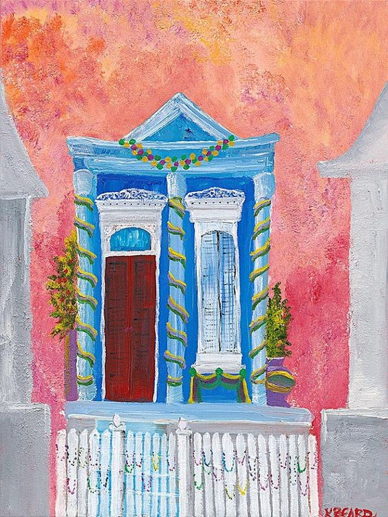 Blue Row House New Orleans Painting by RedShutterOrleans on Etsy