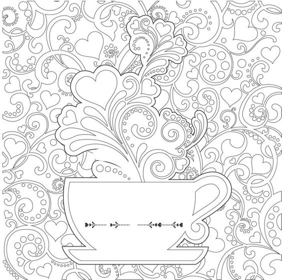 Coloring Pages For Therapy : Tea cups coloring pages adults google search party