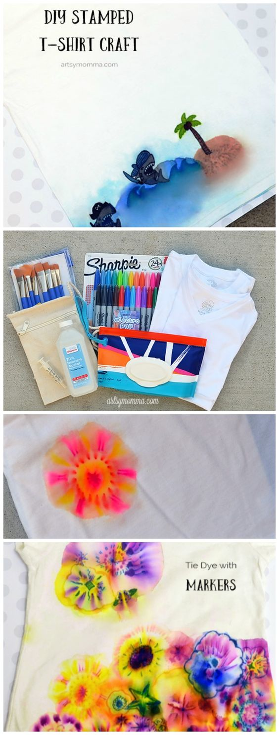 Design your own t-shirt craft - Fun Family Activity That S Easy To Set Up And Clean Up Design Your Own Diy T Shirt Crafts Make Tie Dye Sharpie Shirts And Or Stamped Shirts