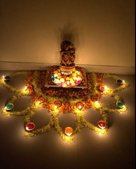 Easy rangoli designs with flowers decor pinterest for Room decoration ideas in diwali