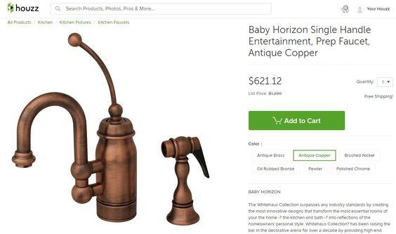 Baby Horizon Single Handle Entertainment, Prep Faucet, Antique Copper