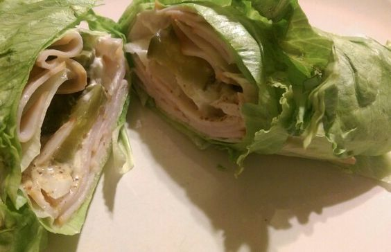 Lettuce turkey wrap: Perfect solution to that turkey sandwich craving without the carbs Onions, turkey, pickles, mustard and mayo all wrapped in fresh iceberg lettuce leaves