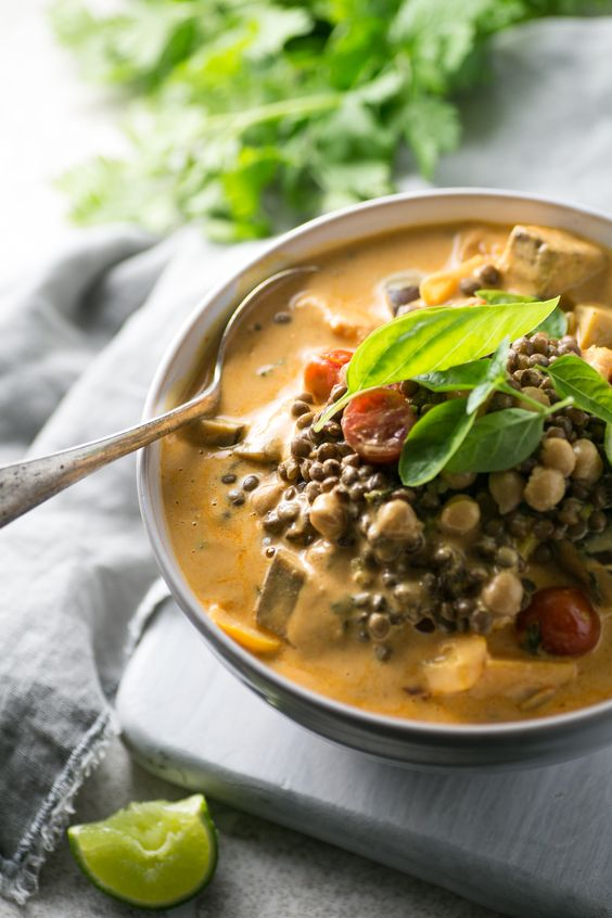 Red Thai Lentil and Chickpea Curry: