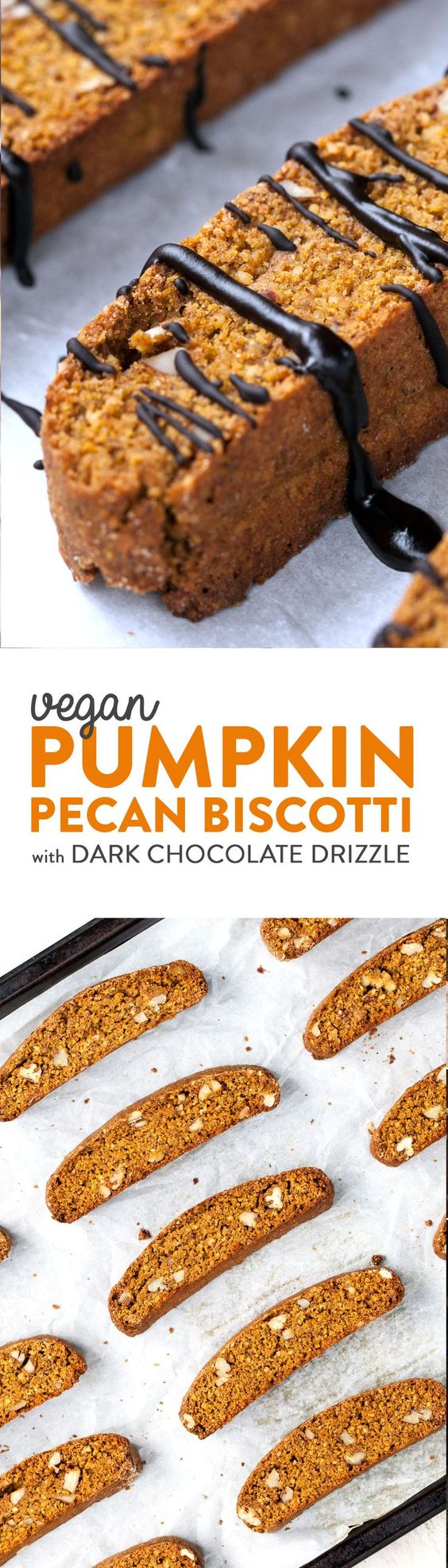 Crisp, crunchy pumpkin pecan biscotti drizzled with dark chocolate. Perfect for dipping into your favorite tea or coffee as a mid-day snack or dessert. Fall flavors at their best! Vegan.