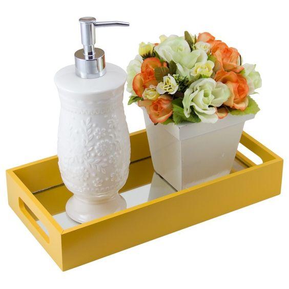 decoracao bandeja lavabo : decoracao bandeja lavabo:Bandeja Café/Lavabo com espelho Amarelo