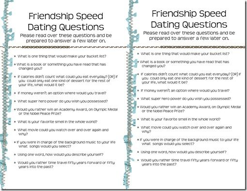 Relief Society Speed Dating activity - with a list of questions!