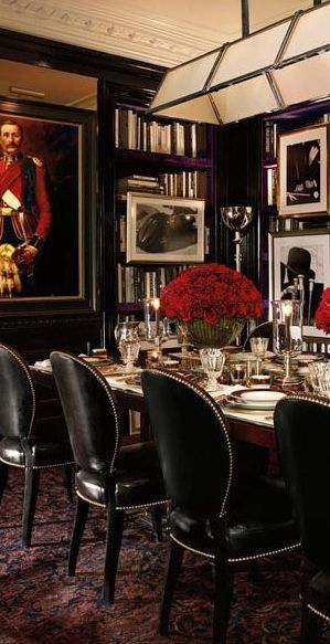 ralph lauren black red and white dining room decor