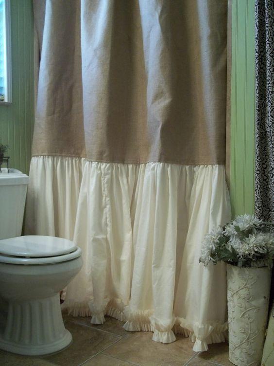 Burlap Shower Curtain - Shabby Chic - Burlap & Cotton Gathered ...