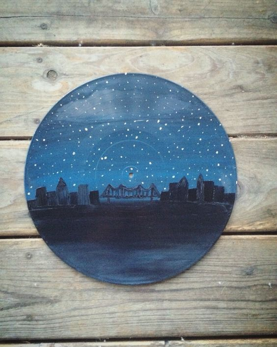 Painting on old vinyl record records vinyl skyline for Things to make with old records