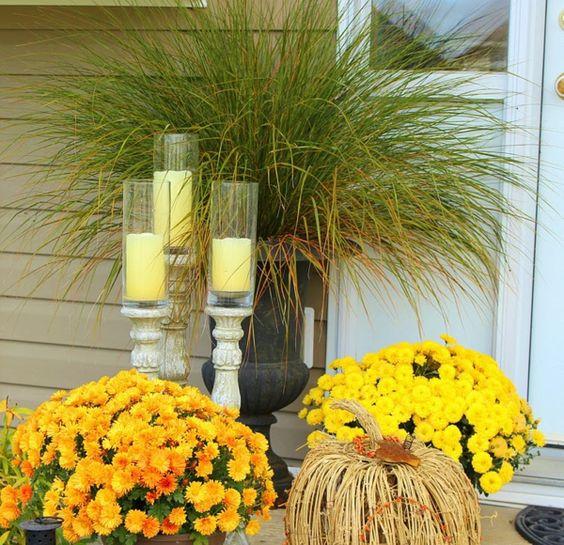 Herbst-Blumen-Eingang-Haus