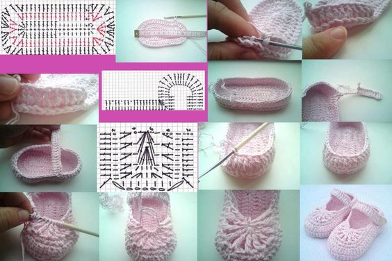 Crochet Baby shoes photo tutorial: