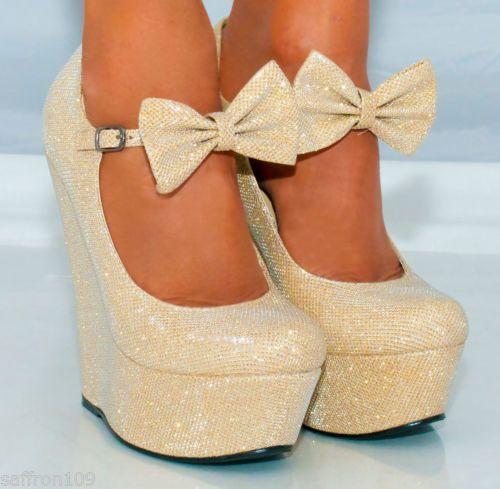 Womens Platform Glitter Shimmer Sparkly High Wedges Shoes Sizes Heels 3 8 Ankle | eBay