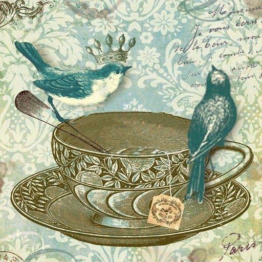 Passarinhos na xícara de chá